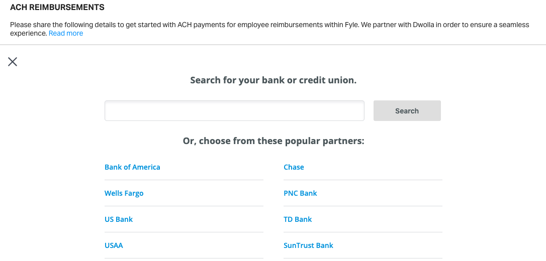 search the bank for linking under ACH