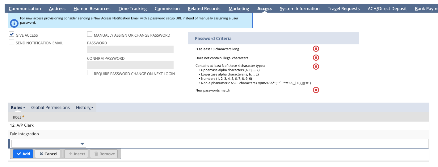 Assigning Fyle Integration role to a user