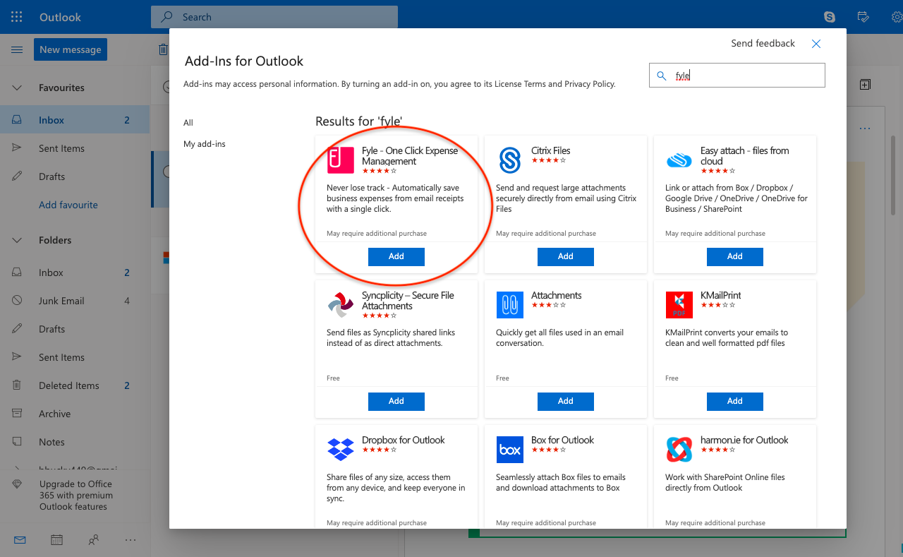 Installing Fyle ad-in on outlook