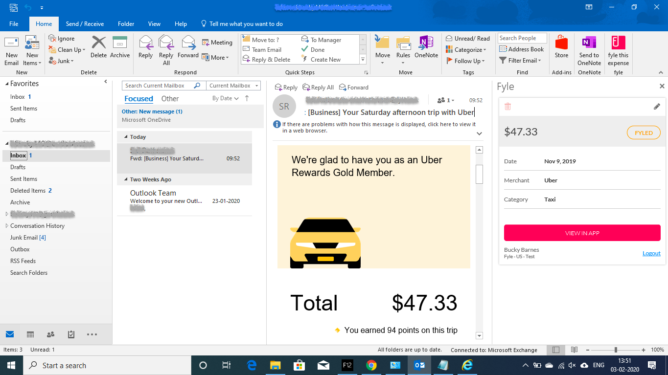 Creating expenses use Add-in on Outlook