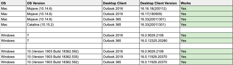 Versions that supports Fyle Add-in for Outlook