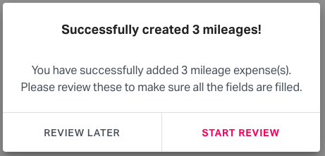 Saving mileages for review on Fyle