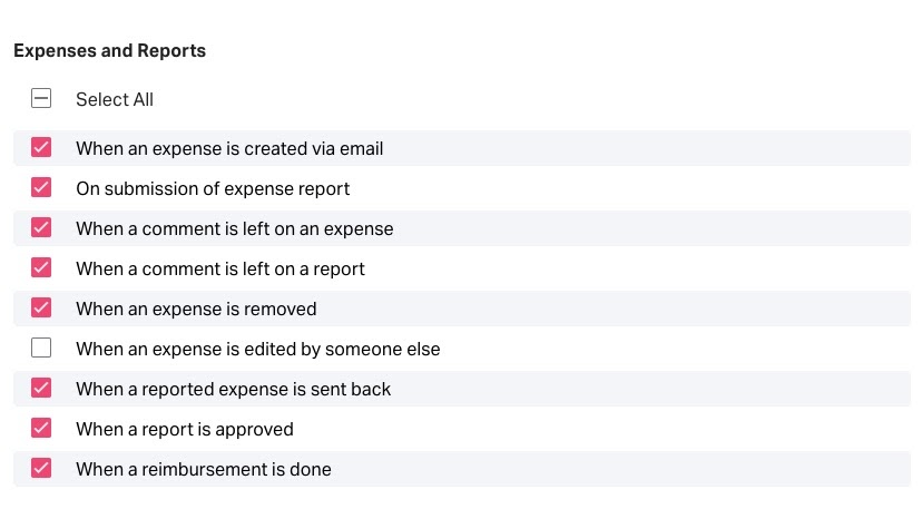 expenses and reports notification preference settings