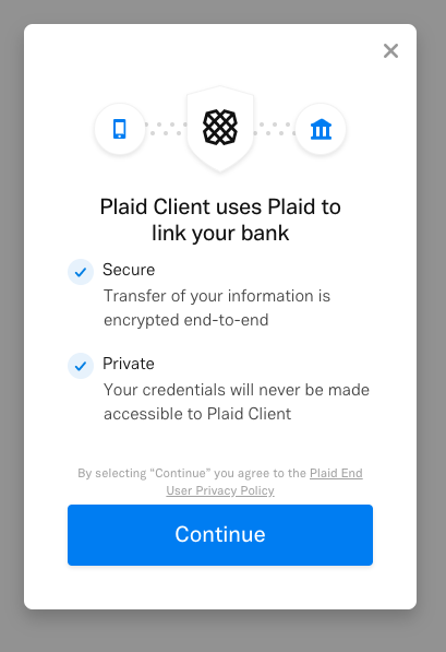 Plaid integration used to link bank account with Fyle