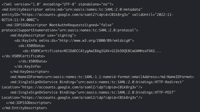 SAML metadata file