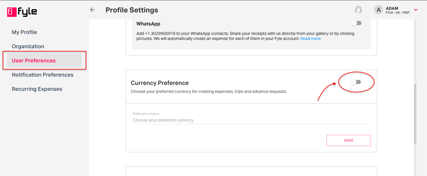 Currency Preferences under Settings on Enterprise/Business plan in Fyle