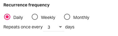 Daily recurrence frequence
