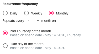 Monthly recurring frequency