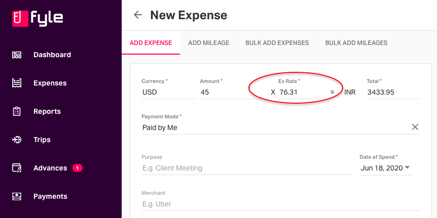 Expense form