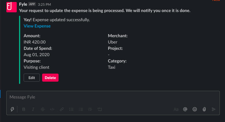 Notification on the edited expense