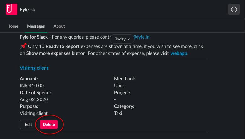 Deleting expenses from Slack